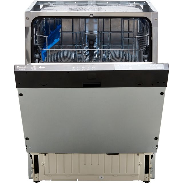 Baumatic BDIN1L38B-80 Fully Integrated Standard Dishwasher - Black Control Panel with Fixed Door Fixing Kit - F Rated