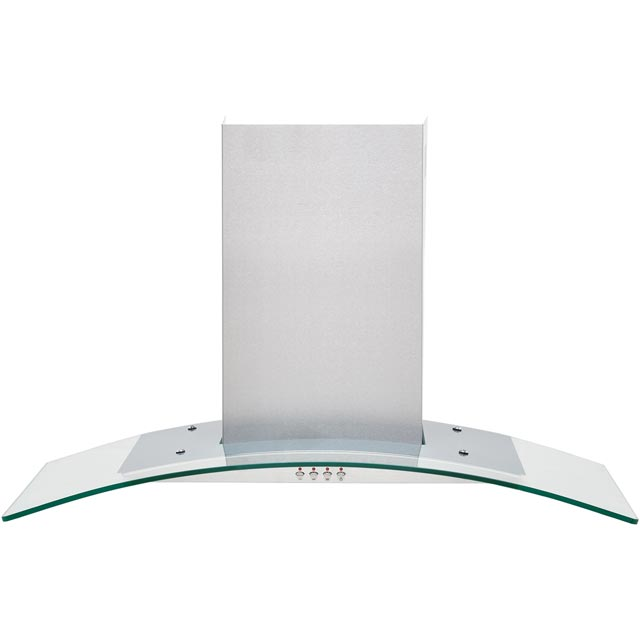 Baumatic BECH90GL 90 cm Chimney Cooker Hood - Stainless Steel / Glass - C Rated