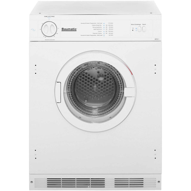 Baumatic BTD1 Built In Vented Tumble Dryer - White - BTD1 - 1
