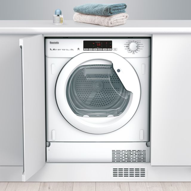 Image of Baumatic BBTDH7A1TE Integrated 7Kg Heat Pump Tumble Dryer - White - A+ Rated