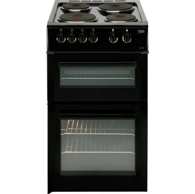 Beko BD533AK Electric Cooker with Solid Plate Hob - Black