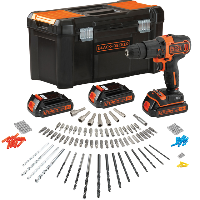Black + Decker BDCHD181B3A-GB Drill in Black / Orange