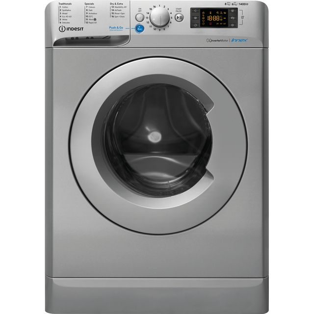 Indesit BDE861483XSUKN 8Kg / 6Kg Washer Dryer with 1400 rpm - Silver - A Rated