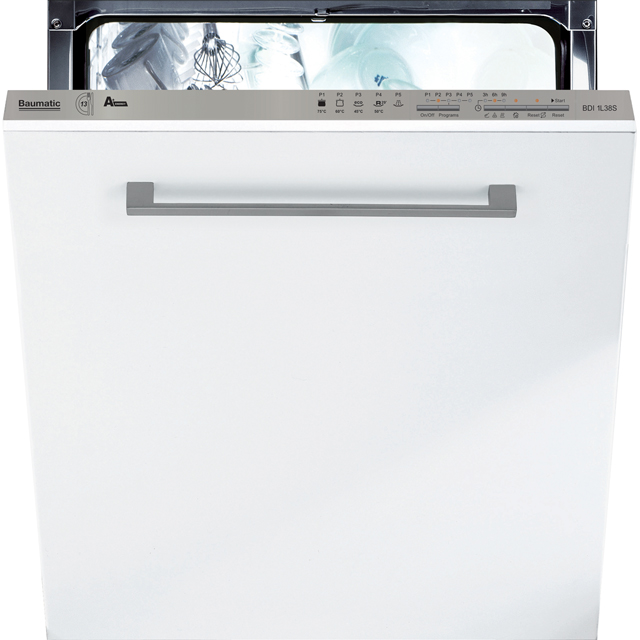 Baumatic BDI1L38S Fully Integrated Standard Dishwasher - Silver Control Panel - A+ Rated