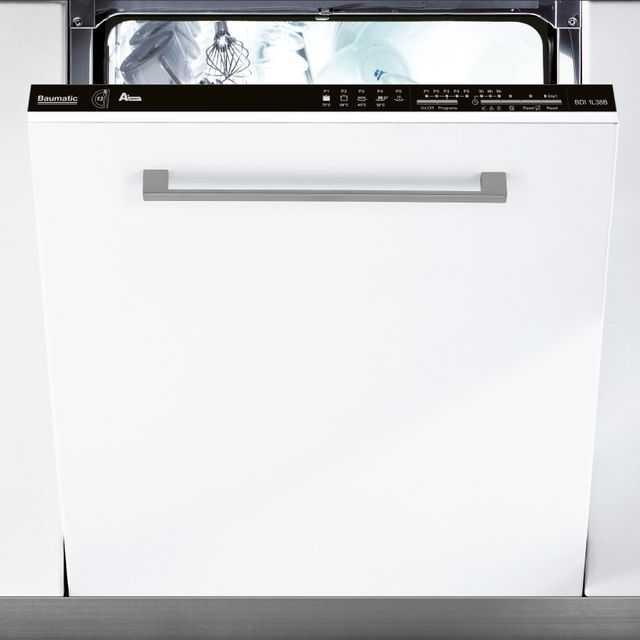 Image of Baumatic BDIN1L38B-80 Fully Integrated Standard Dishwasher - Black Control Panel with Fixed Door Fixing Kit - A+ Rated