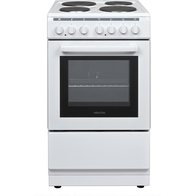 Electra BEF50SEW 50cm Electric Cooker with Solid Plate Hob - White - A Rated