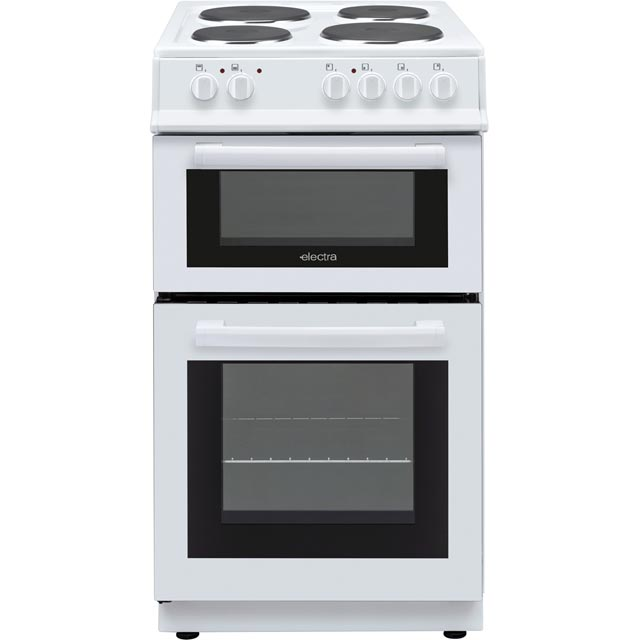 Electra BEF50TEW 50cm Electric Cooker with Solid Plate Hob - White - A Rated - BEF50TEW_WH - 1