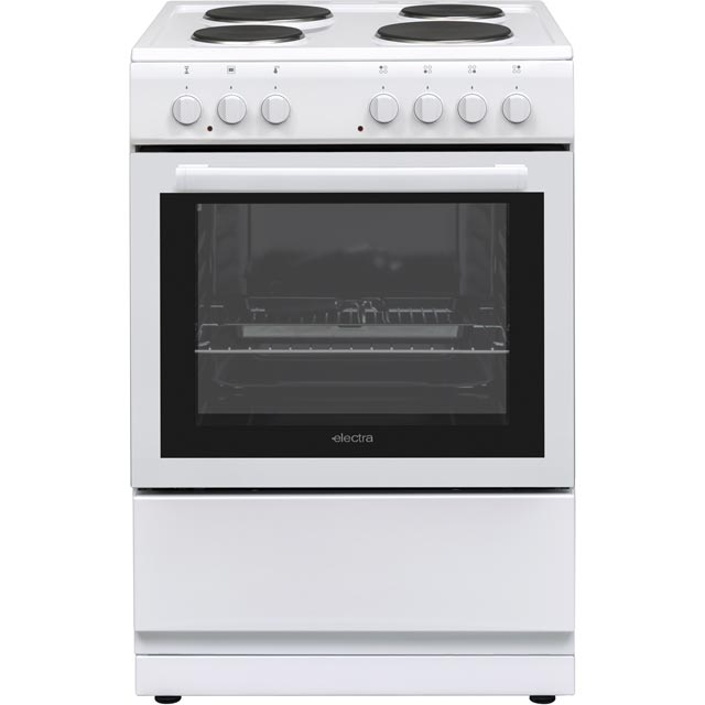 Electra BEF60SEW 60cm Electric Cooker with Solid Plate Hob - White - A Rated - BEF60SEW_WH - 1