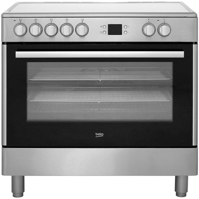 Beko BHSC90X Electric Range Cooker with Ceramic Hob - Stainless Steel - B Rated - BHSC90X_SS - 1