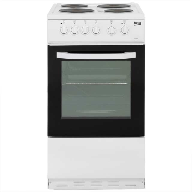 Beko BS530W Electric Cooker with Solid Plate Hob - White