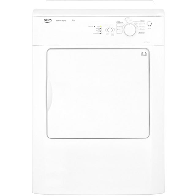 Beko DRVS62W 6Kg Vented Tumble Dryer - White - C Rated - DRVS62W_WH - 1