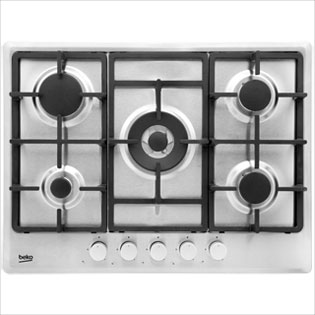 Beko HIMW75225SX 68cm Gas Hob - Stainless Steel