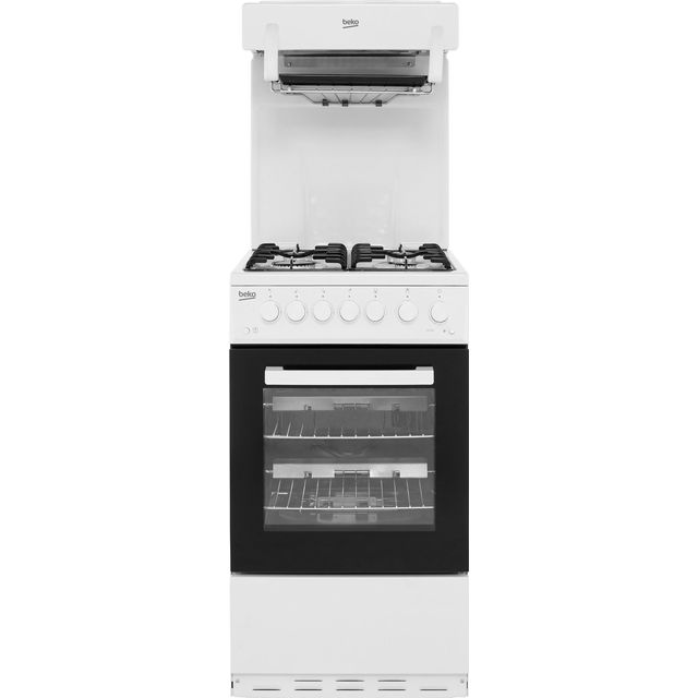 Beko KA52NEW 50cm Gas Cooker with Full Width Gas Grill - White - A Rated - KA52NEW_WH - 1
