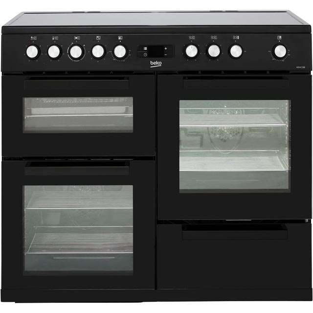 Beko KDVC100K 100cm Electric Range Cooker with Ceramic Hob - Black - A/A Rated - KDVC100K_BK - 1