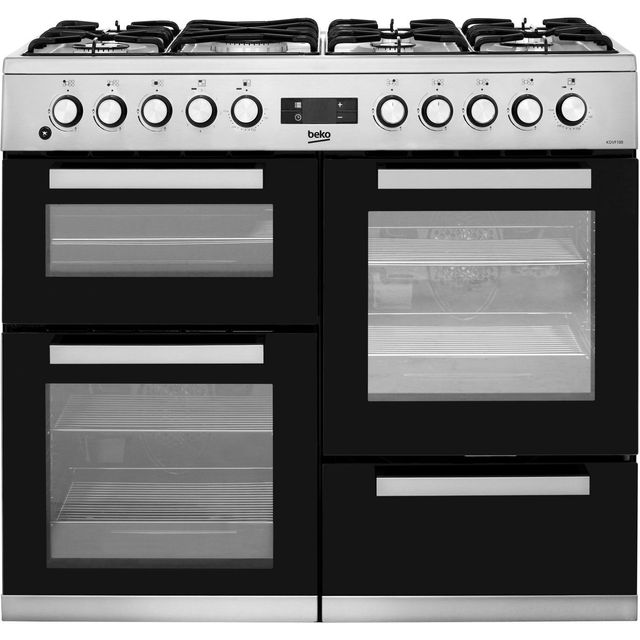 Beko KDVF100X 100cm Dual Fuel Range Cooker - Stainless Steel - A/A Rated