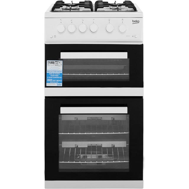 Beko KDVG592W 50cm Gas Cooker with Full Width Gas Grill - White - A+/A Rated Best Price, Cheapest Prices