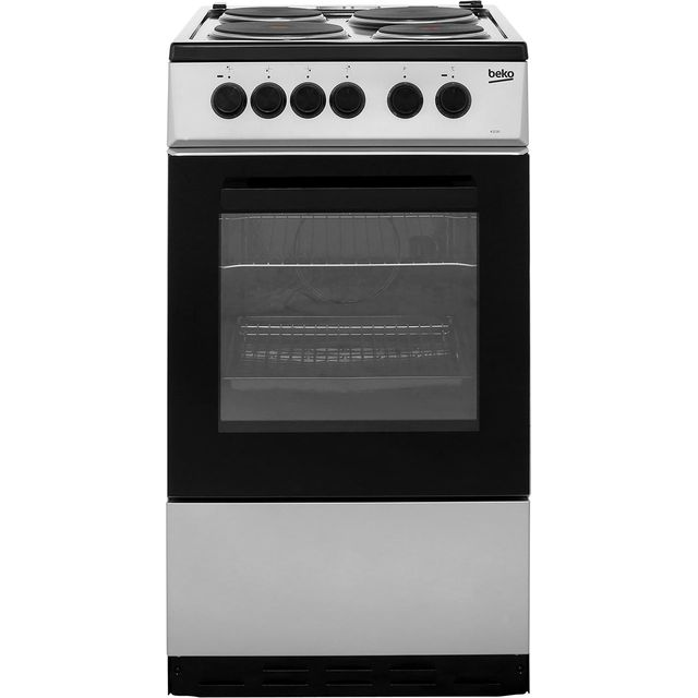 Beko KS530S 50cm Electric Cooker with Solid Plate Hob - Silver - A Rated Best Price, Cheapest Prices