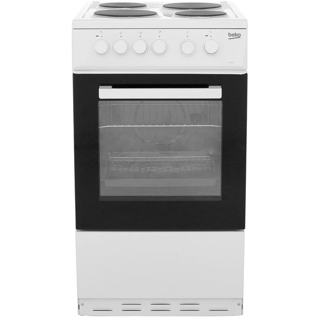 Beko 50cm Electric Cooker with Solid Plate Hob - White - A Rated