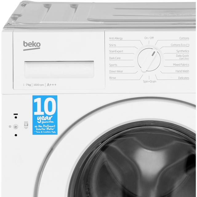 Beko WIR76540F1 Built In 7Kg Washing Machine - White - WIR76540F1_WH - 4