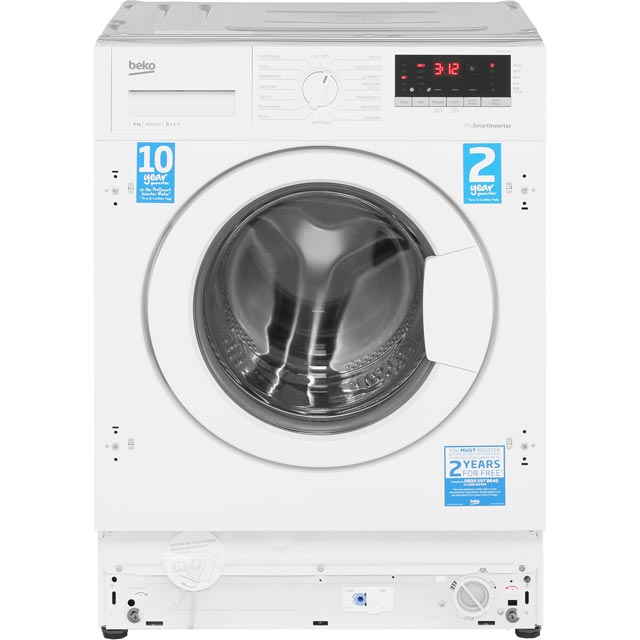 Beko WIR86540F1 Integrated 8Kg Washing Machine with 1600 rpm - A+++ Rated - WIR86540F1_WH - 2