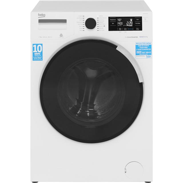 Beko WR94PB44DW 9Kg Washing Machine with 1400 rpm - White - A+++ Rated - WR94PB44DW_WH - 1