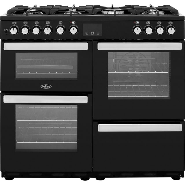 Belling Cookcentre100DFT 100cm Dual Fuel Range Cooker - Black - A/A Rated