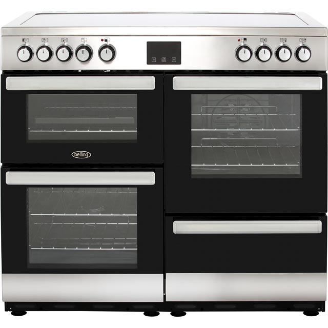 Belling Cookcentre100E 100cm Electric Range Cooker with Ceramic Hob - Stainless Steel - A/A Rated - Cookcentre100E_SS - 1