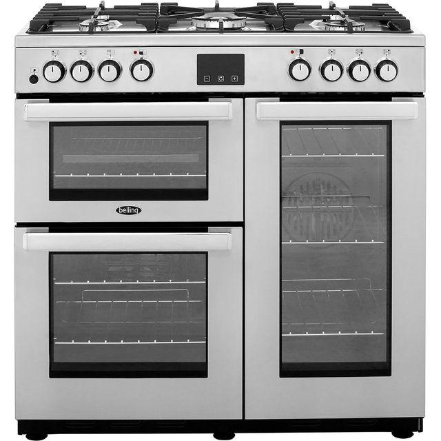 belling 90cm dual fuel range cooker stainless steel