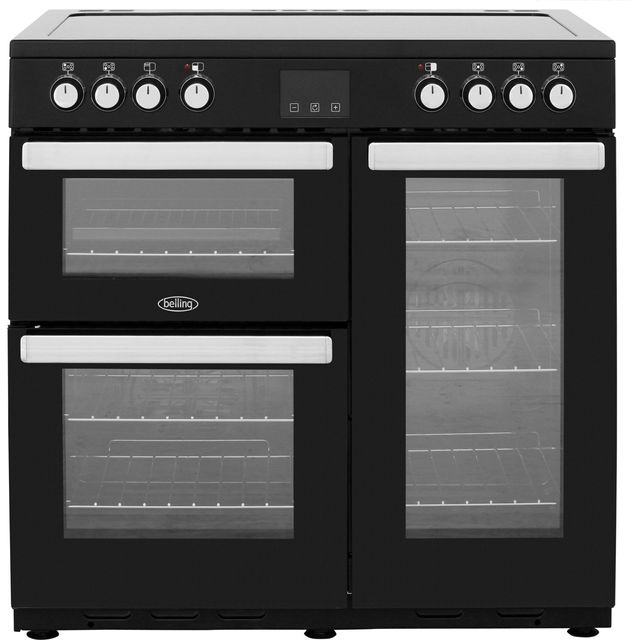 Belling Cookcentre90E 90cm Electric Range Cooker with Ceramic Hob - Black - A/A Rated - Cookcentre90E_Blk - 1