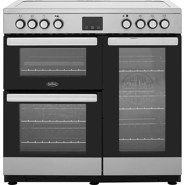Belling Cookcentre90E 90cm Electric Range Cooker with Ceramic Hob - Stainless Steel - A/A Rated - Cookcentre90E_SS - 1