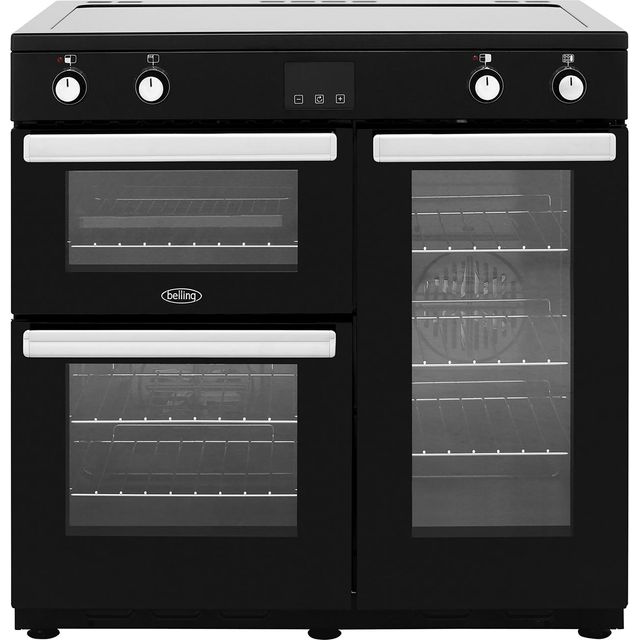 Belling Cookcentre90Ei 90cm Electric Range Cooker with Induction Hob - Black - A/A Rated - Cookcentre90Ei_BK - 1