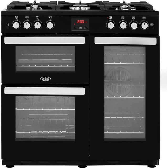 Belling Cookcentre90G 90cm Gas Range Cooker with Electric Fan Oven - Black - A/A Rated - Cookcentre90G_BK - 1