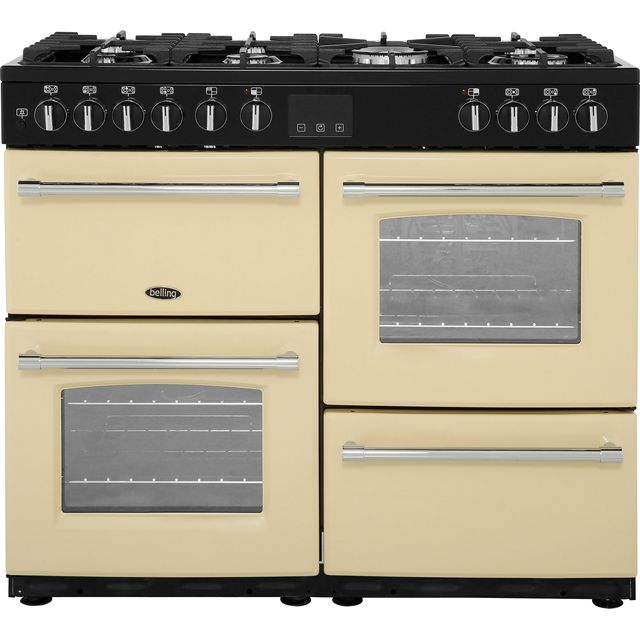 Belling Farmhouse100DF 100cm Dual Fuel Range Cooker - Cream - A/A Rated - Farmhouse100DF_CR - 1
