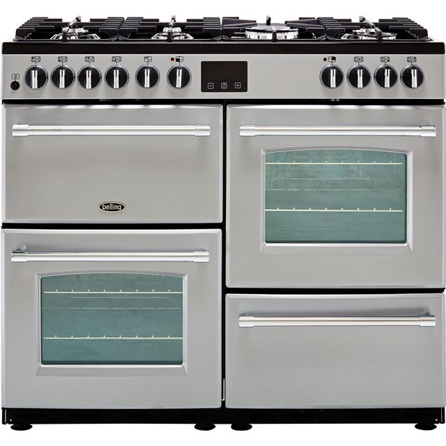 Belling Farmhouse100DF 100cm Dual Fuel Range Cooker - Silver - A/A Rated - Farmhouse100DF_SI - 1