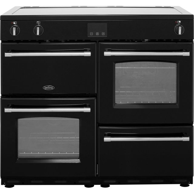 Belling Farmhouse100Ei 100cm Electric Range Cooker with Induction Hob - Black - A/A Rated - Farmhouse100Ei_BK - 1