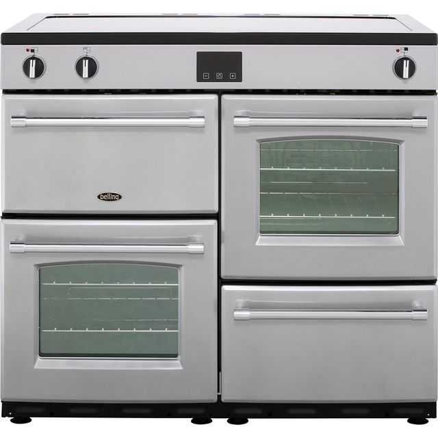 Belling Farmhouse100Ei 100cm Electric Range Cooker with Induction Hob - Silver - A/A Rated - Farmhouse100Ei_SI - 1