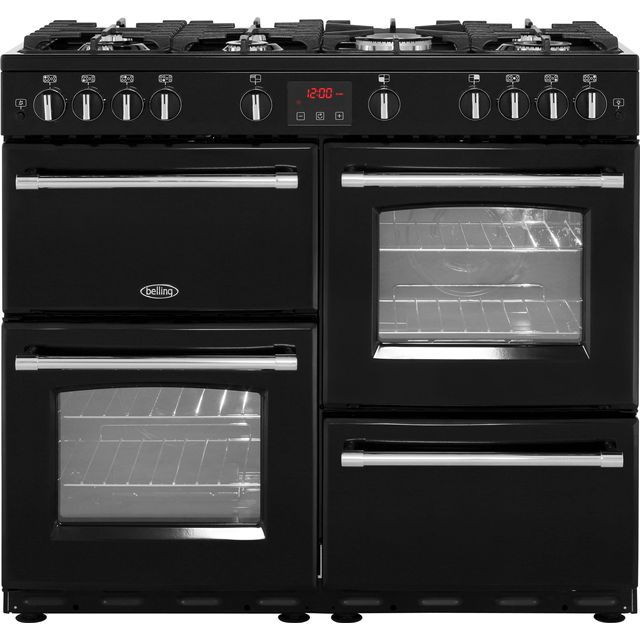 Belling Farmhouse100G 100cm Gas Range Cooker - Black - A/A Rated - Farmhouse100G_BK - 1