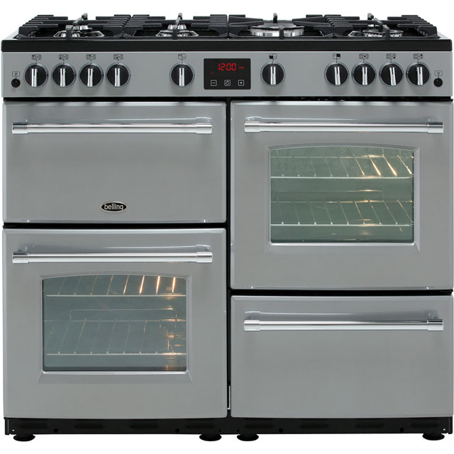 Belling Gas Range Cooker - Silver - A/A Rated
