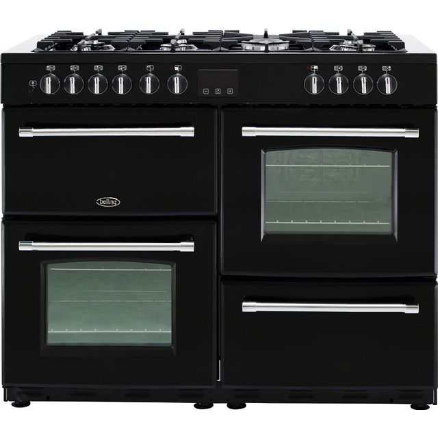 Belling Farmhouse110DF 110cm Dual Fuel Range Cooker - Black - Farmhouse110DF_BK - 1