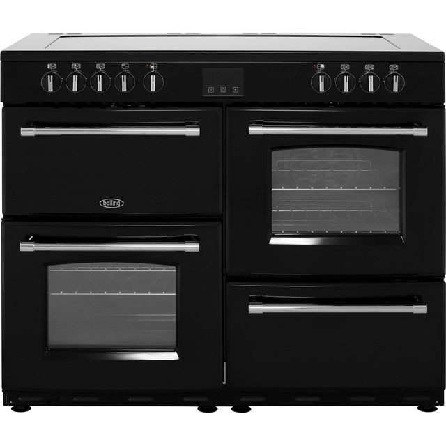 Belling Farmhouse110E 110cm Electric Range Cooker with Ceramic Hob - Black - A/A Rated - Farmhouse110E_BK - 1