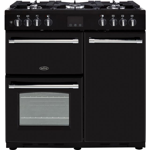 Belling Farmhouse90DFT 90cm Dual Fuel Range Cooker - Black - A/A Rated - Farmhouse90DFT_BK - 1
