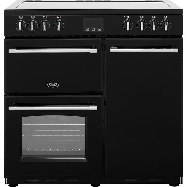Belling Farmhouse90E 90cm Electric Range Cooker with Ceramic Hob - Black - A/A Rated - Farmhouse90E_BK - 1