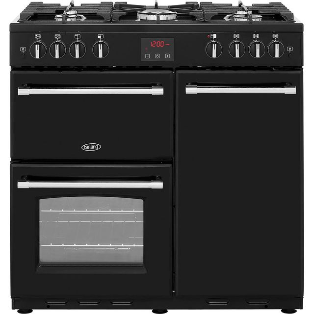 Belling Farmhouse90G 90cm Gas Range Cooker with Electric Fan Oven - Black - B/A Rated - Farmhouse90G_BK - 1