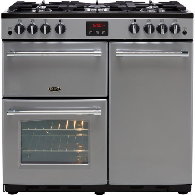 Belling Farmhouse90G 90cm Gas Range Cooker with Electric Fan Oven - Silver - B/A Rated