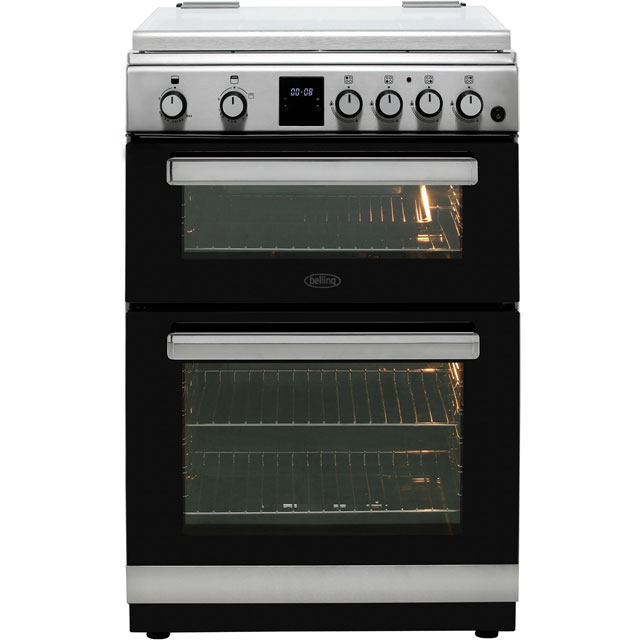 Belling FSG608DMc 60cm Gas Cooker with Full Width Electric Grill - Stainless Steel - A+/A Rated