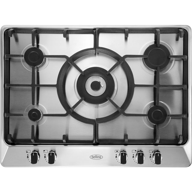 Belling GHU70GCMK2STA Built In Gas Hob - Stainless Steel - GHU70GCMK2STA_SS - 1