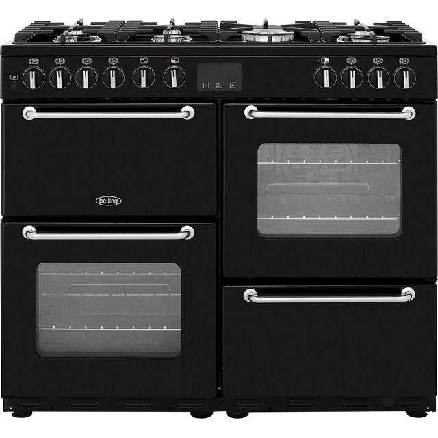 Belling SANDRINGHAM100DFT 100cm Dual Fuel Range Cooker - Black - A/A Rated