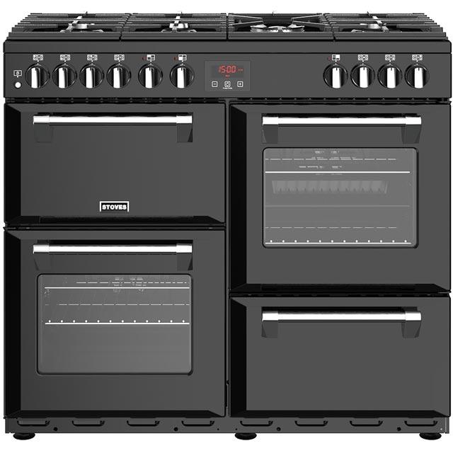 Stoves Belmont 100DFT 100cm Dual Fuel Range Cooker - Black - A/A/A Rated