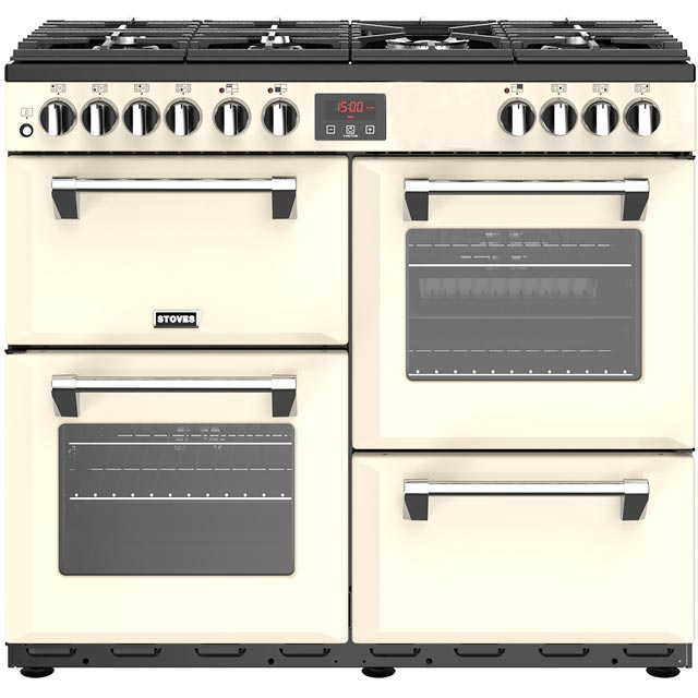 Stoves Belmont 100DFT 100cm Dual Fuel Range Cooker - Cream - A/A/A Rated - Belmont 100DFT_CR - 1