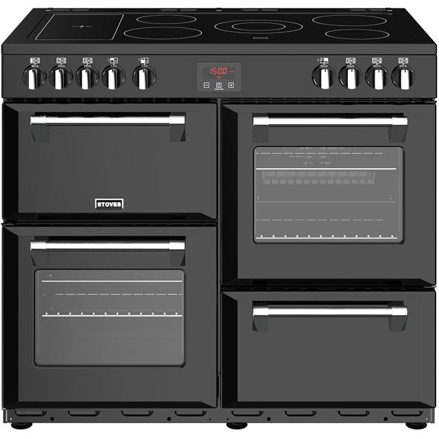 Stoves Belmont 100E 100cm Electric Range Cooker with Ceramic Hob - Black - A/A/A Rated - Belmont 100E_BK - 1